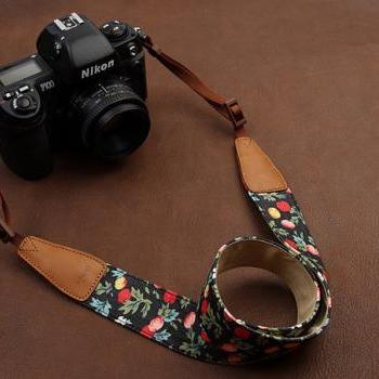 SLR Camera Strap Canon/Nikon Camera Strap DSLR Camera Strap---black background red apple